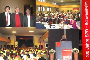 2009 gab es wieder was besonderes zu feiern. Die SPD Schweinheim wurde 100 Jahre alt. Gefeiert wurde in der alten Turnhalle. Gäste waren u. A. Ludwig Stiegler (Vorsitzender SPD Bayern), Herbert Reitz (1. Bevollmächtigter IG Metall) und Klaus Herzog (OB).
