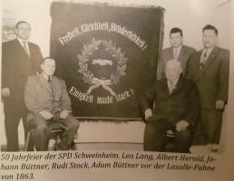 Am 25. Oktober 1959 feierte der Ortsverein Schweinheim sein 50jähriges Bestehen mit einer Festansprache von Ministerpräsident a. D. Dr. Wilhelm Hoegner und klassischer Musik mit der Chorgemeinschaft Schweinheim.